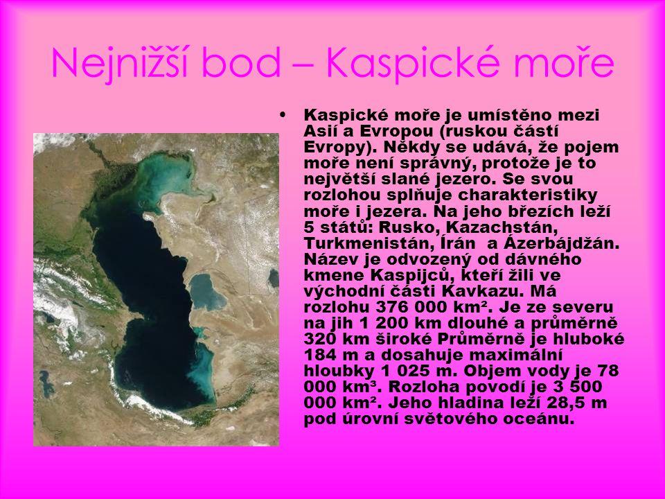 Nejnižší bod – Kaspické moře
