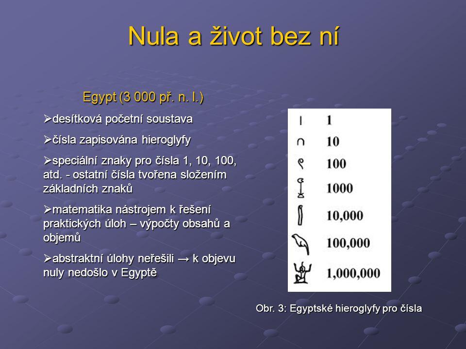 Nula a život bez ní Egypt (3 000 př. n. l.) desítková početní soustava