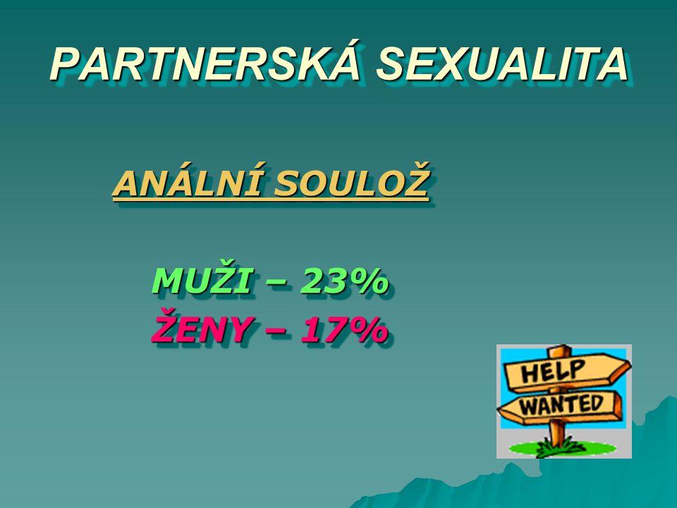 PARTNERSKÁ SEXUALITA ANÁLNÍ SOULOŽ MUŽI – 23% ŽENY – 17%
