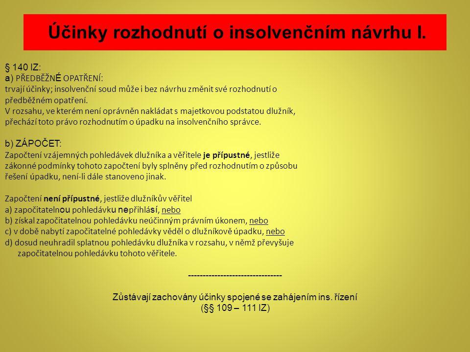 Účinky rozhodnutí o insolvenčním návrhu I.