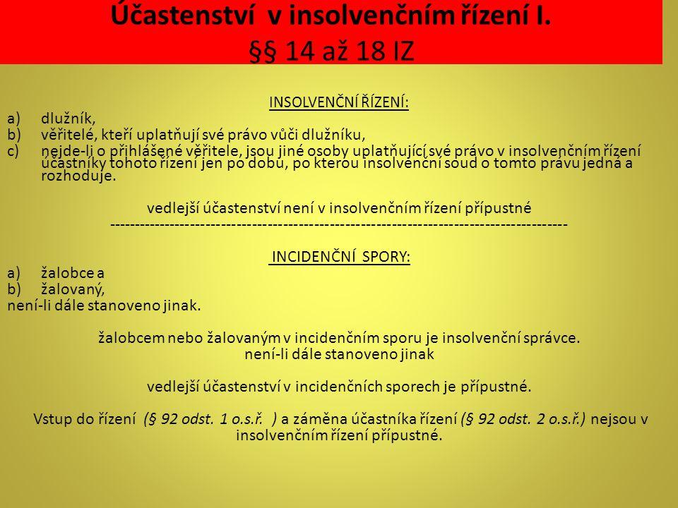 Účastenství v insolvenčním řízení I. §§ 14 až 18 IZ