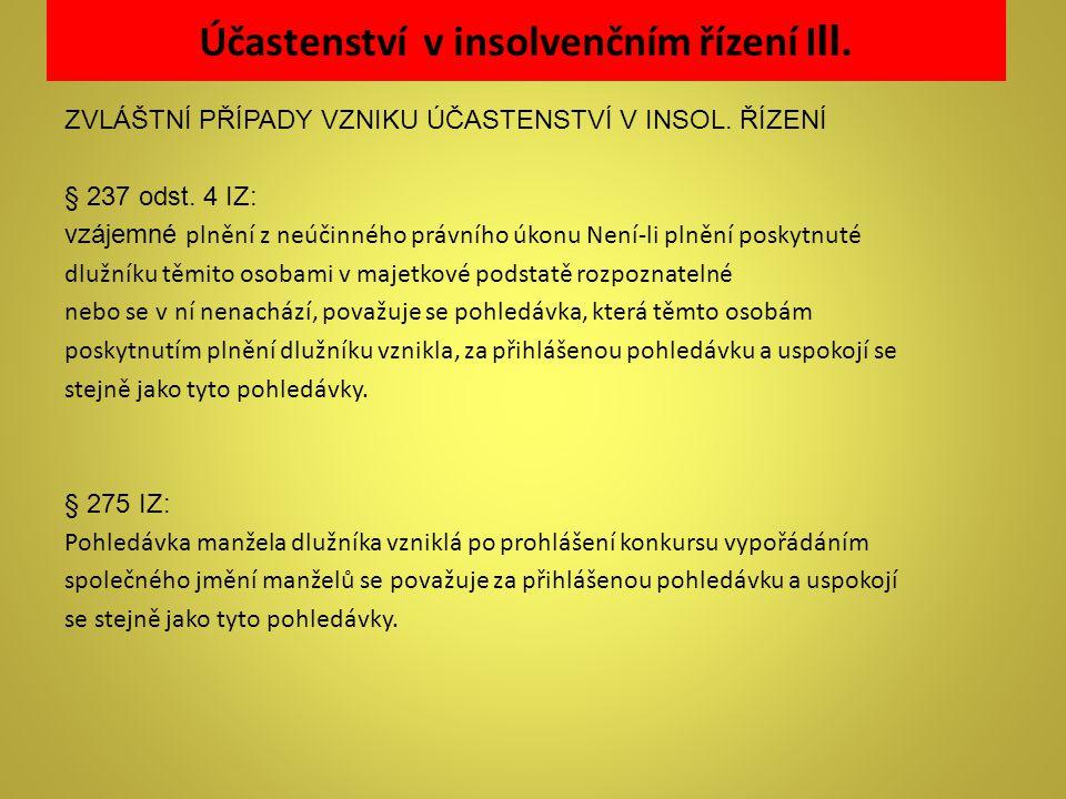 Účastenství v insolvenčním řízení III.