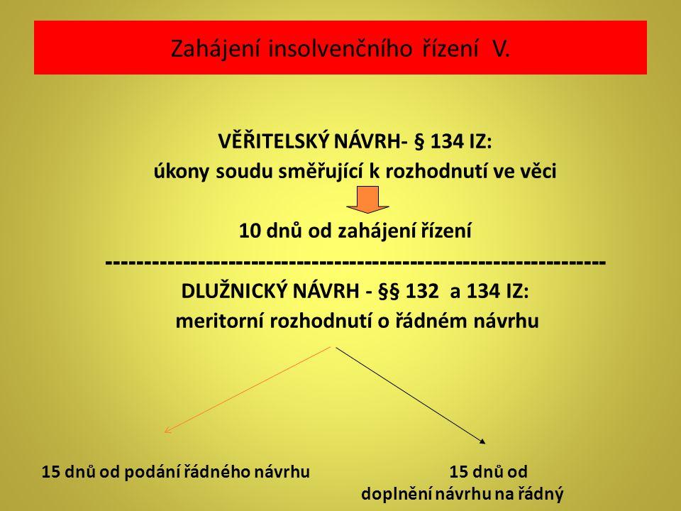 Zahájení insolvenčního řízení V.