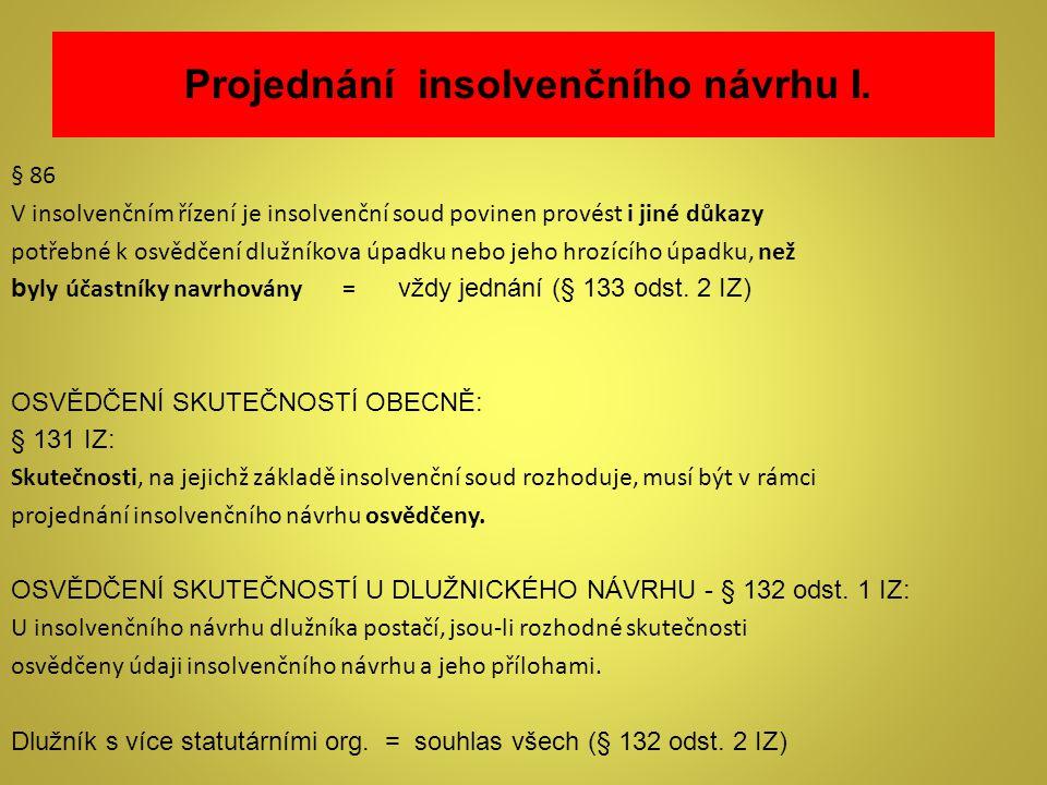 Projednání insolvenčního návrhu I.
