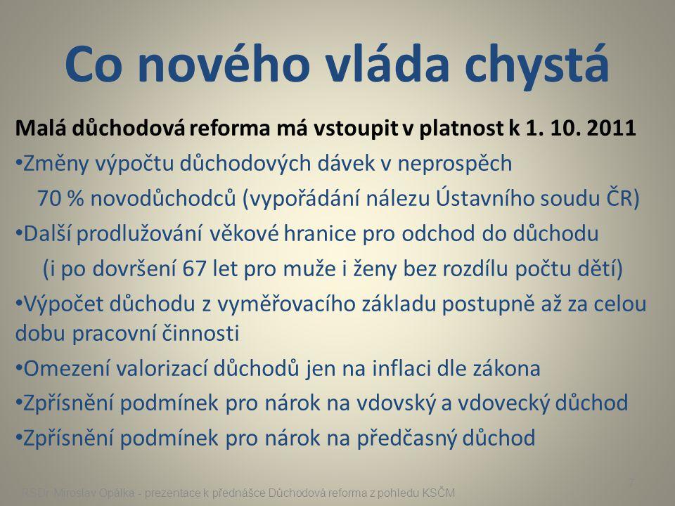 Co nového vláda chystá Malá důchodová reforma má vstoupit v platnost k 1. 10. 2011. Změny výpočtu důchodových dávek v neprospěch.