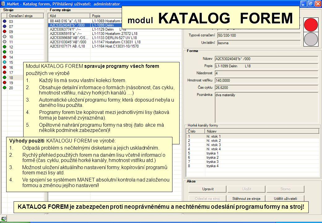 modul KATALOG FOREM Modul KATALOG FOREM spravuje programy všech forem. použitých ve výrobě. Každý lis má svou vlastní kolekci forem.