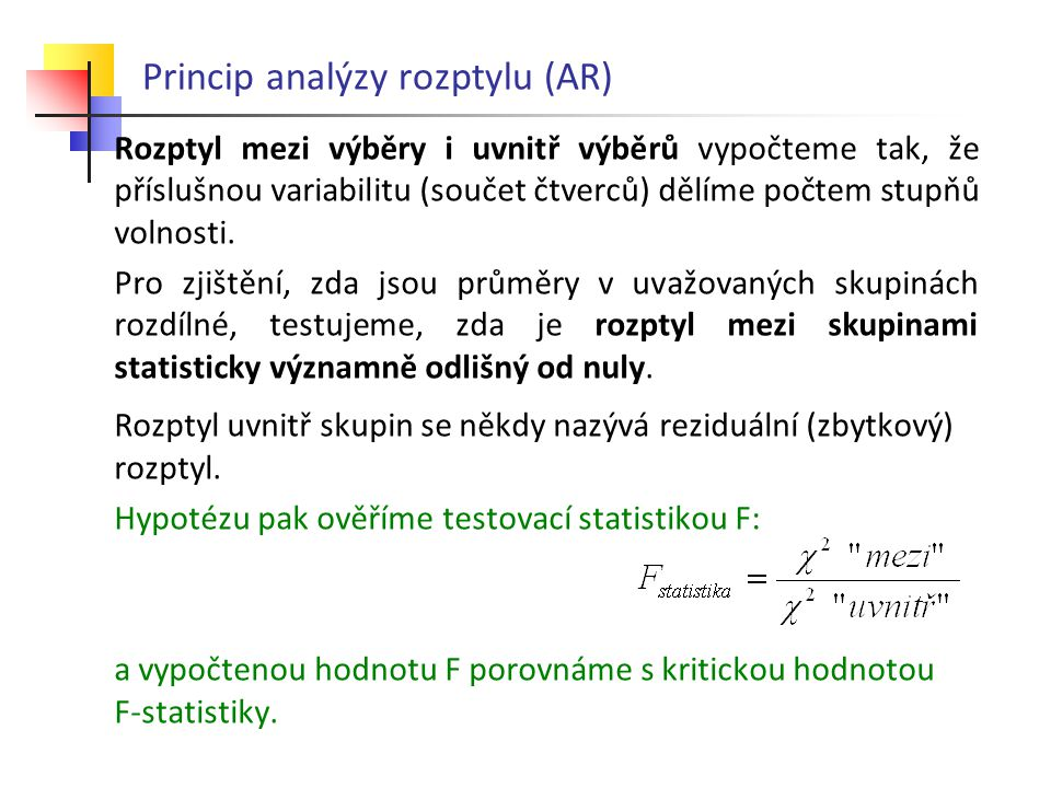 Princip analýzy rozptylu (AR)