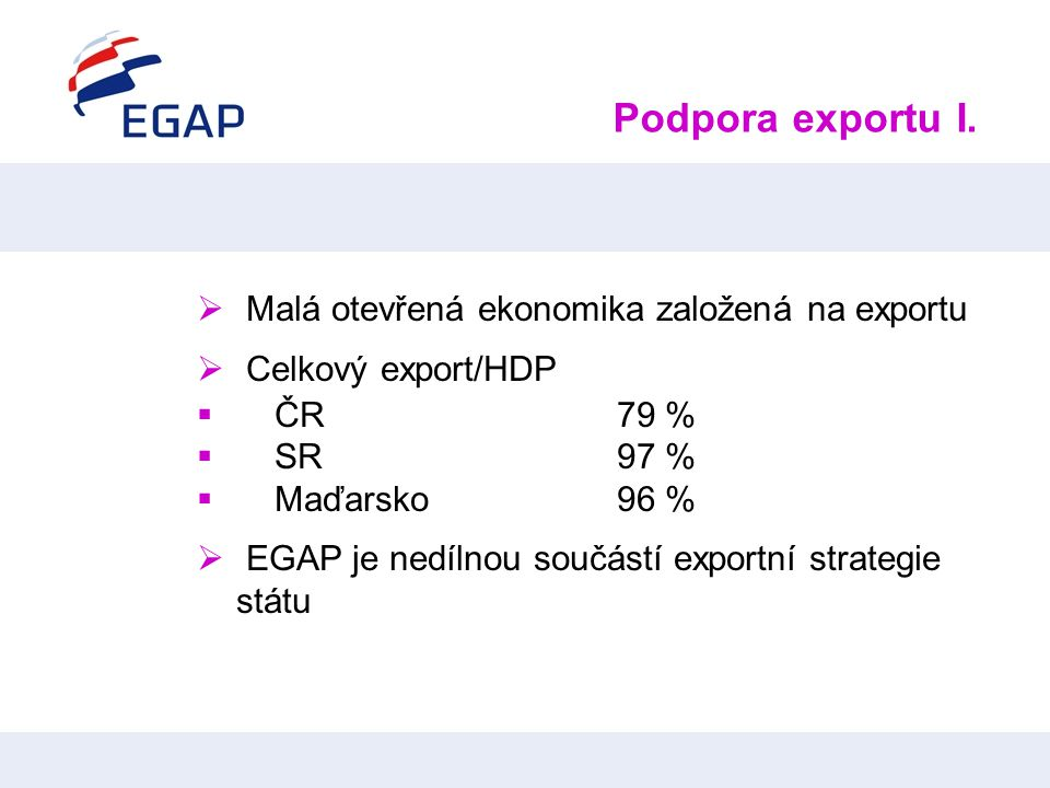 Podpora exportu I. Malá otevřená ekonomika založená na exportu