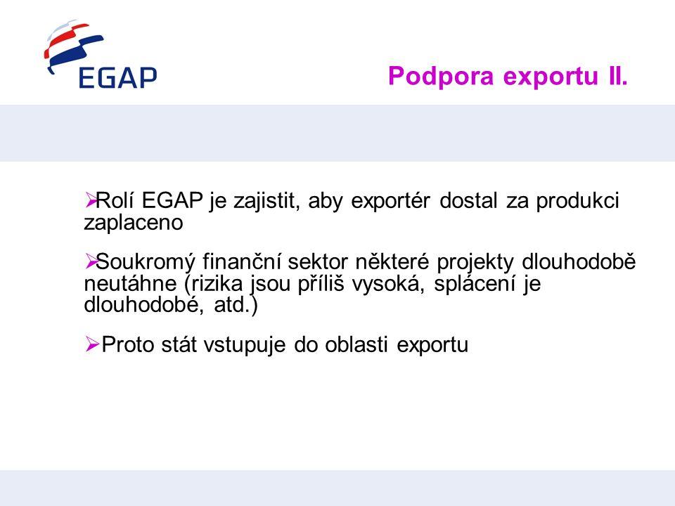 Podpora exportu II. Rolí EGAP je zajistit, aby exportér dostal za produkci zaplaceno.
