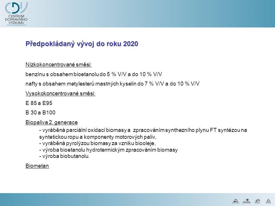 Předpokládaný vývoj do roku 2020