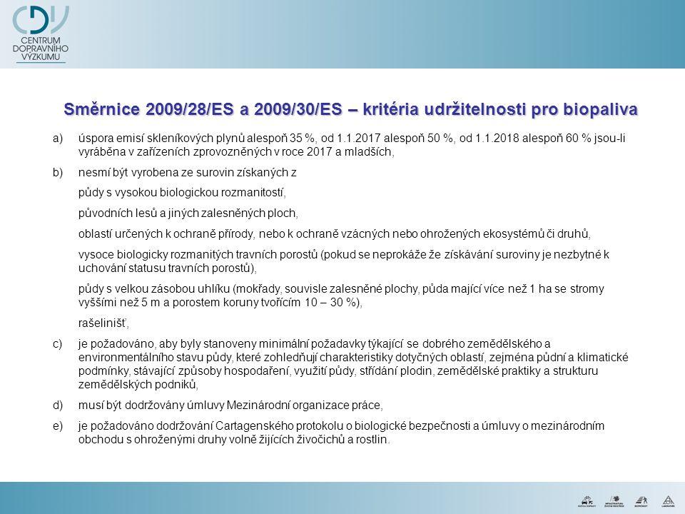 Směrnice 2009/28/ES a 2009/30/ES – kritéria udržitelnosti pro biopaliva
