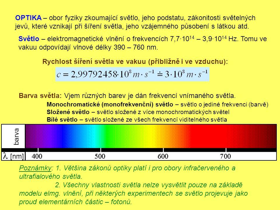 OPTIKA – obor fyziky zkoumající světlo, jeho podstatu, zákonitosti světelných jevů, které vznikají při šíření světla, jeho vzájemného působení s látkou atd.