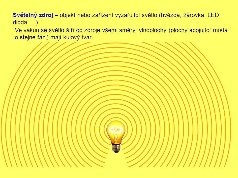 Světelný zdroj – objekt nebo zařízení vyzařující světlo (hvězda, žárovka, LED dioda, ...)