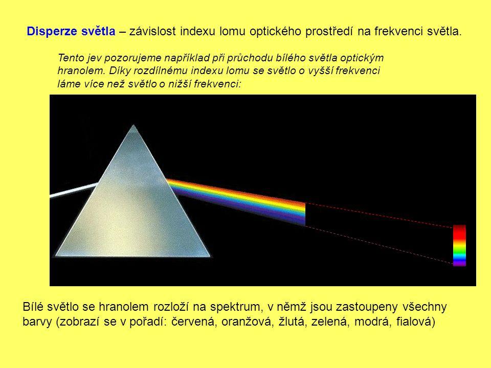 Disperze světla – závislost indexu lomu optického prostředí na frekvenci světla.