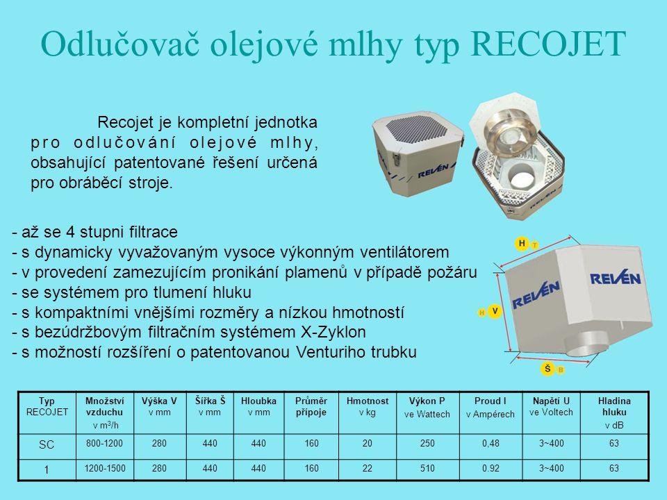 Odlučovač olejové mlhy typ RECOJET
