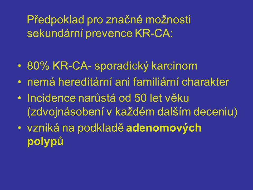Předpoklad pro značné možnosti sekundární prevence KR-CA: