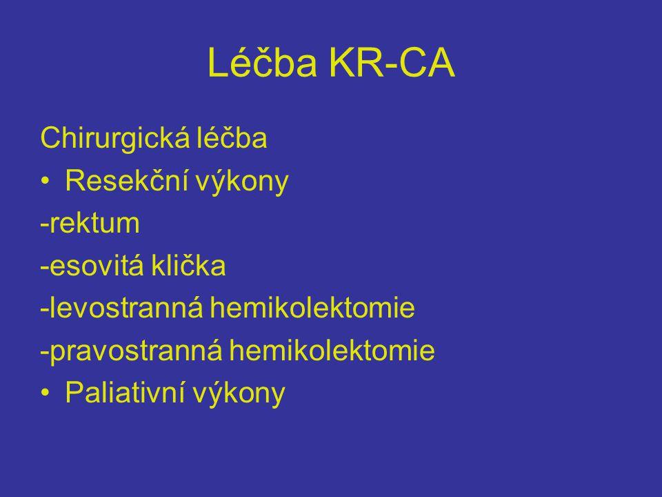 Léčba KR-CA Chirurgická léčba Resekční výkony -rektum -esovitá klička
