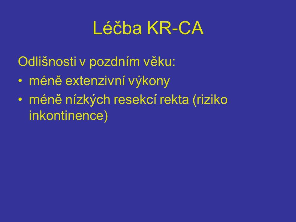 Léčba KR-CA Odlišnosti v pozdním věku: méně extenzivní výkony