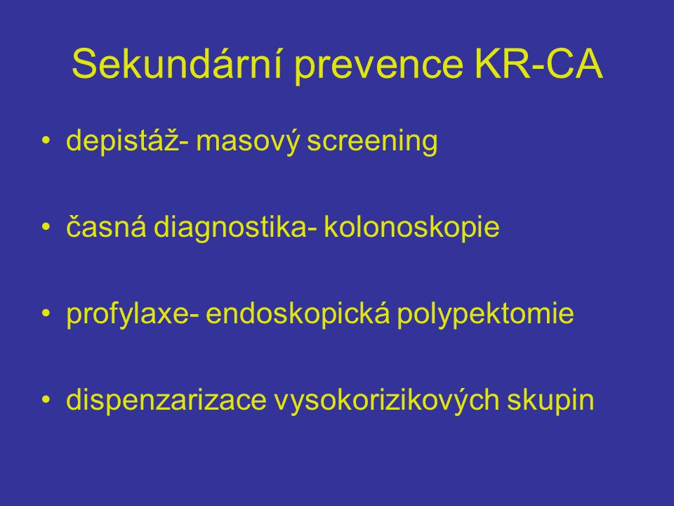 Sekundární prevence KR-CA