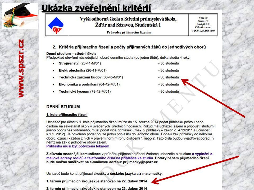 Ukázka zveřejnění kritérií
