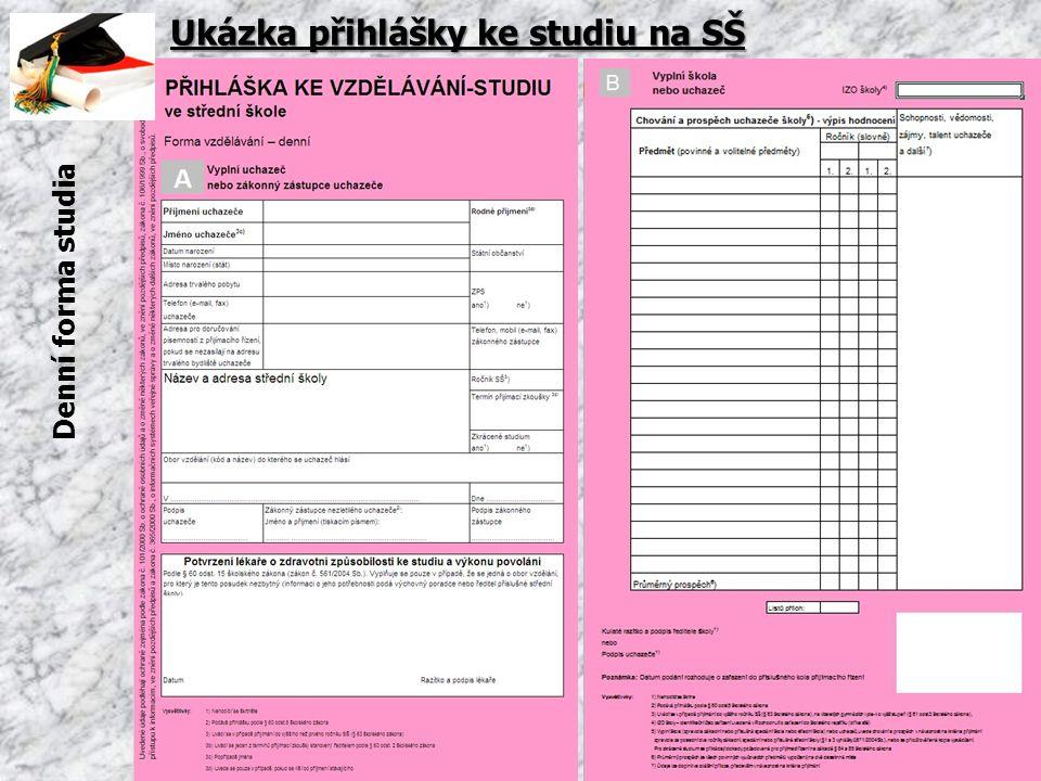 Ukázka přihlášky ke studiu na SŠ