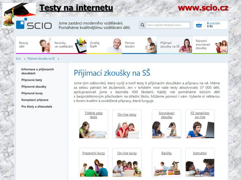 Testy na internetu www.scio.cz