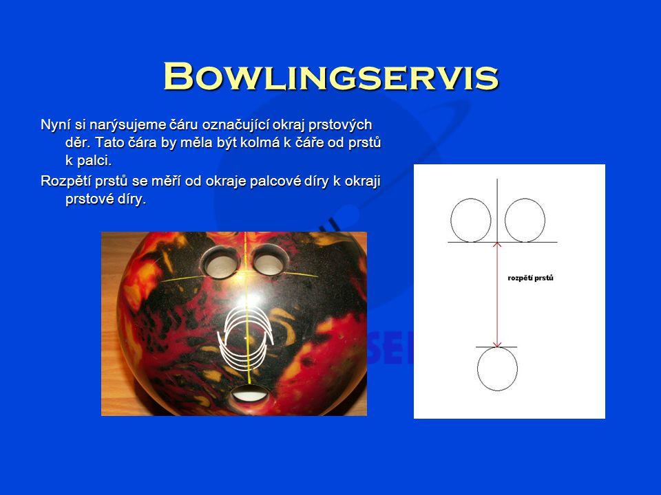 Bowlingservis Nyní si narýsujeme čáru označující okraj prstových děr. Tato čára by měla být kolmá k čáře od prstů k palci.