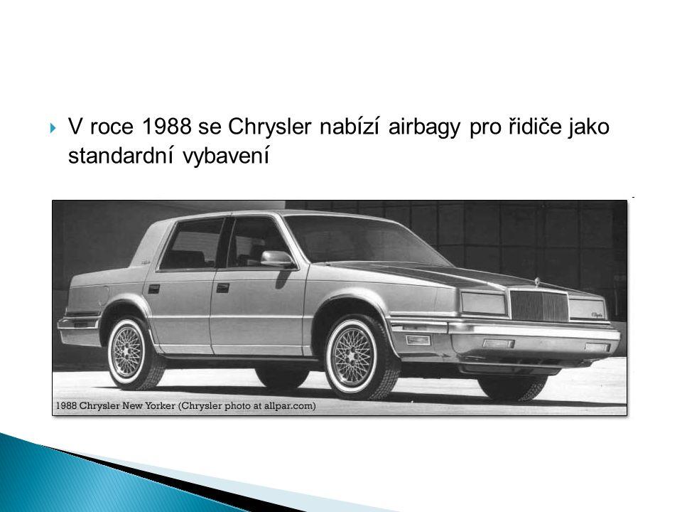 V roce 1988 se Chrysler nabízí airbagy pro řidiče jako standardní vybavení
