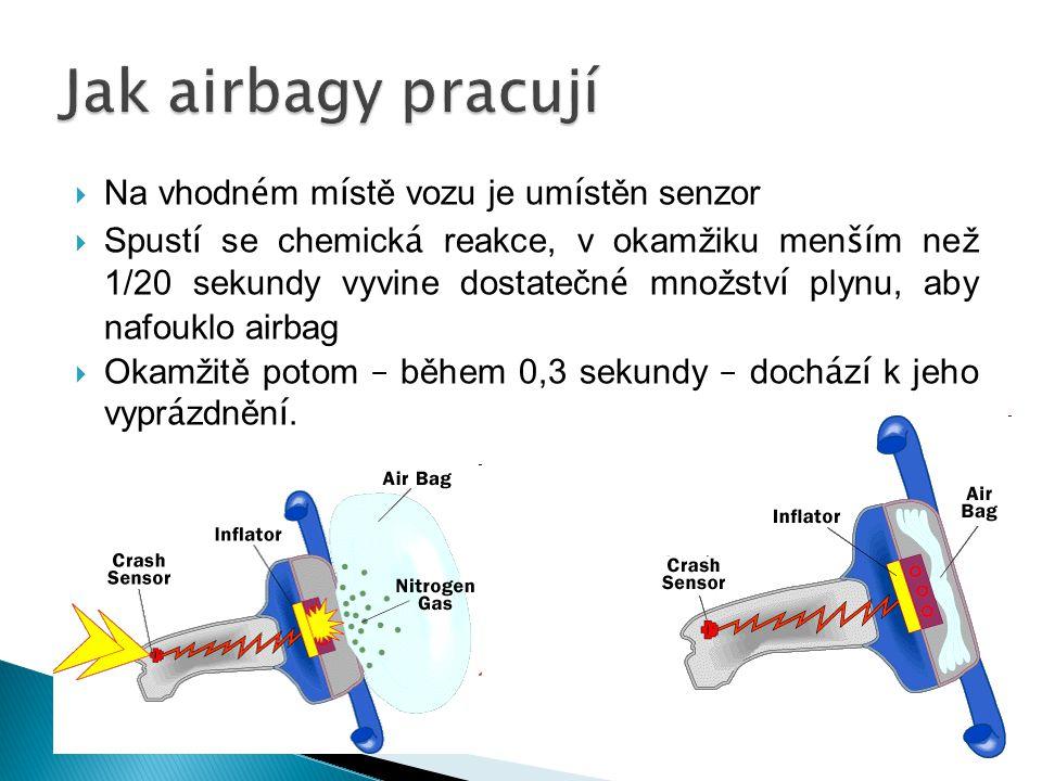 Jak airbagy pracují Na vhodném místě vozu je umístěn senzor