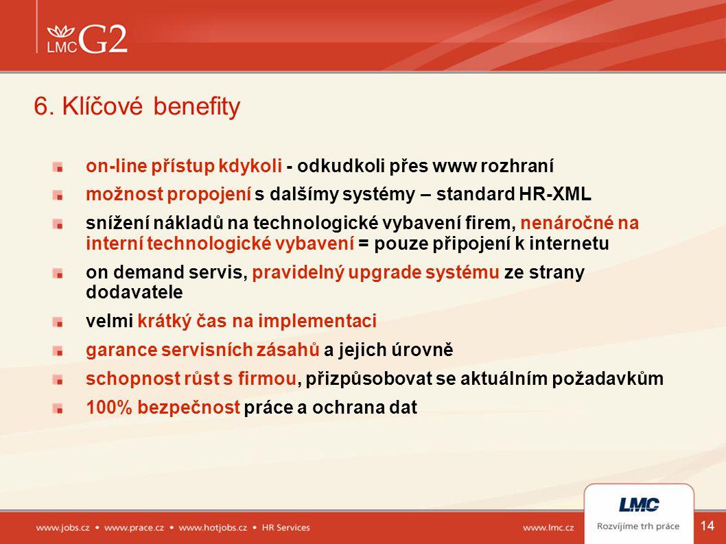 6. Klíčové benefity on-line přístup kdykoli - odkudkoli přes www rozhraní. možnost propojení s dalšímy systémy – standard HR-XML.