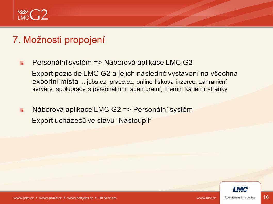 7. Možnosti propojení Personální systém => Náborová aplikace LMC G2