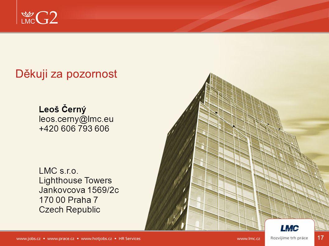 Děkuji za pozornost Leoš Černý leos.cerny@lmc.eu +420 606 793 606