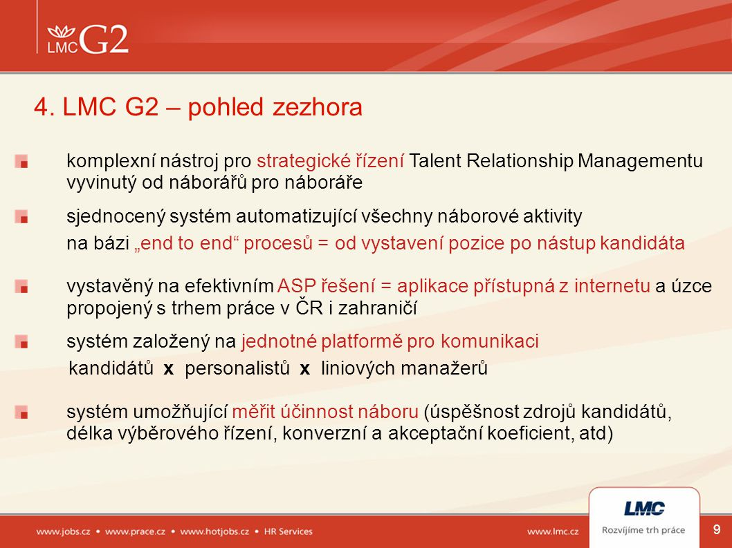 4. LMC G2 – pohled zezhora komplexní nástroj pro strategické řízení Talent Relationship Managementu.