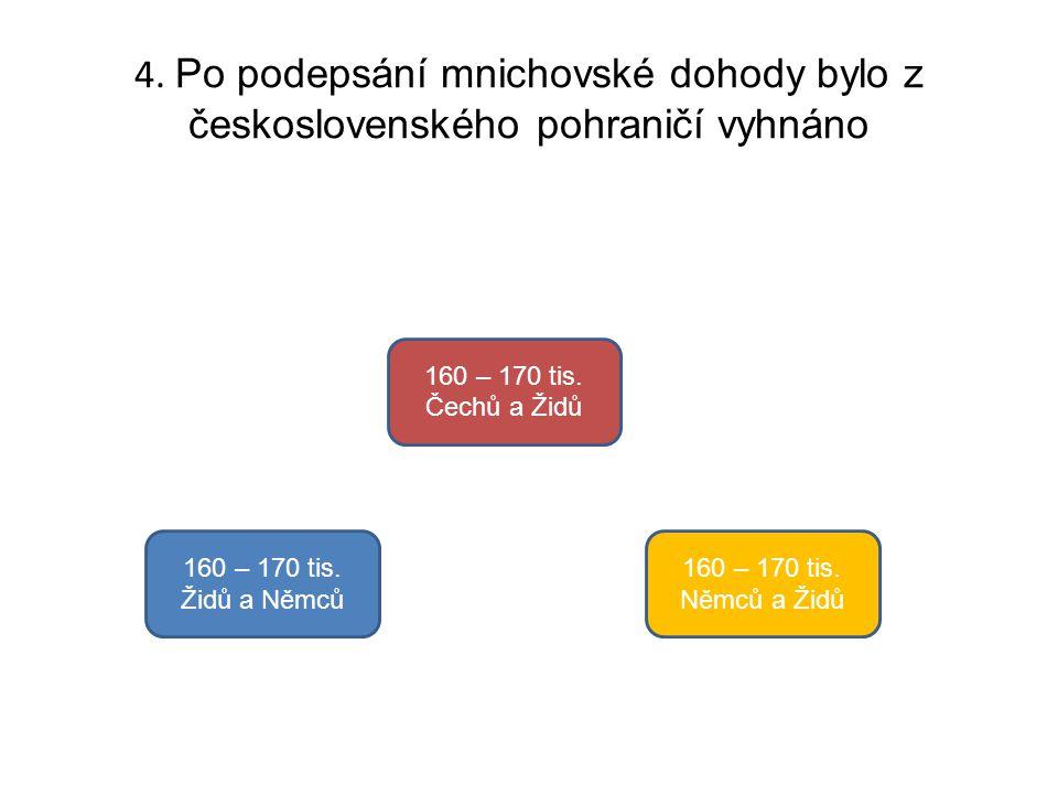 4. Po podepsání mnichovské dohody bylo z československého pohraničí vyhnáno