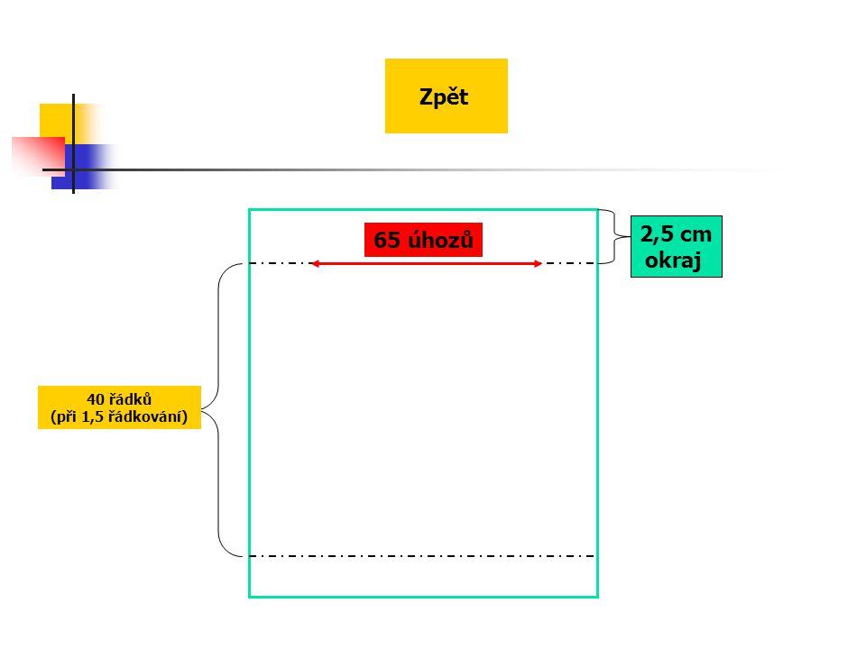 Zpět 2,5 cm okraj 65 úhozů 40 řádků (při 1,5 řádkování)