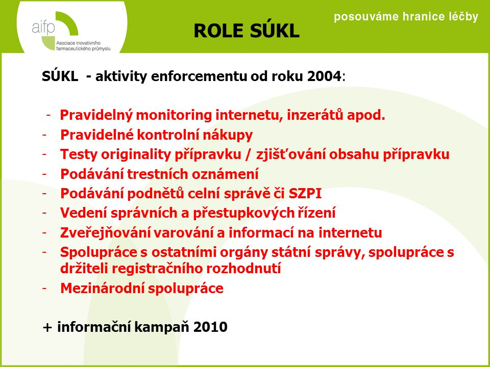 ROLE SÚKL SÚKL - aktivity enforcementu od roku 2004: