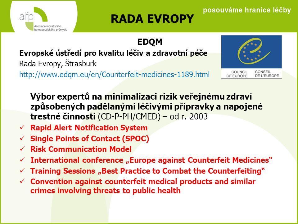 RADA EVROPY EDQM. Evropské ústředí pro kvalitu léčiv a zdravotní péče. Rada Evropy, Štrasburk.