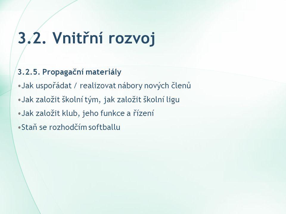 3.2. Vnitřní rozvoj 3.2.5. Propagační materiály