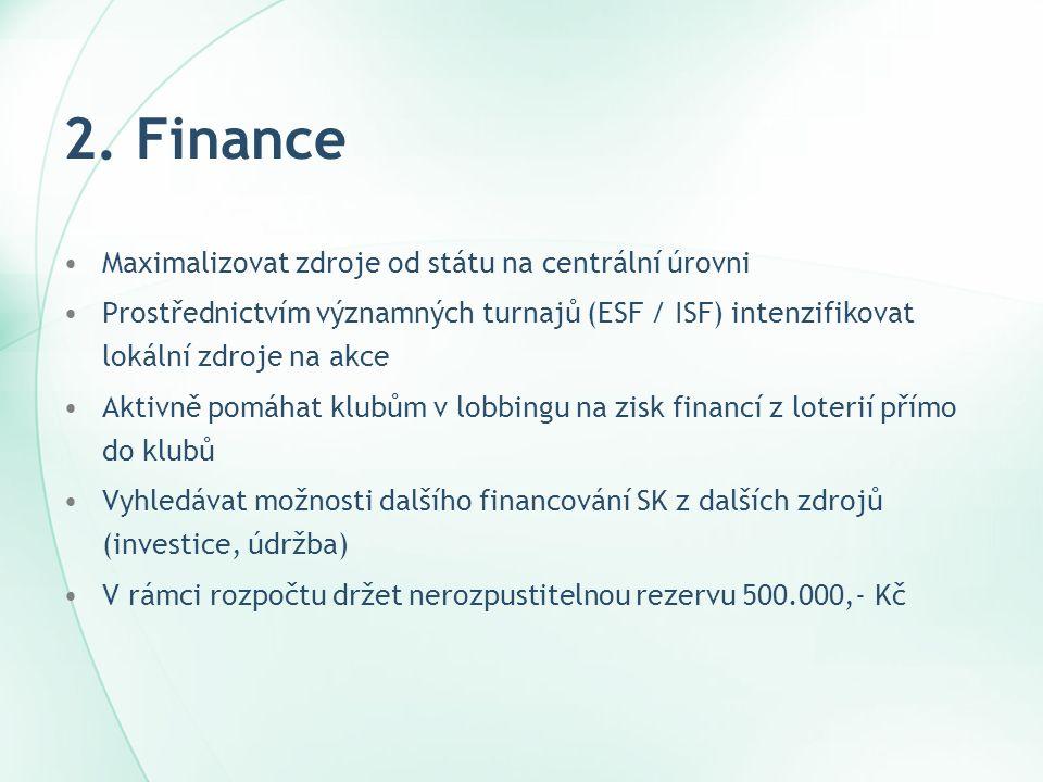 2. Finance Maximalizovat zdroje od státu na centrální úrovni