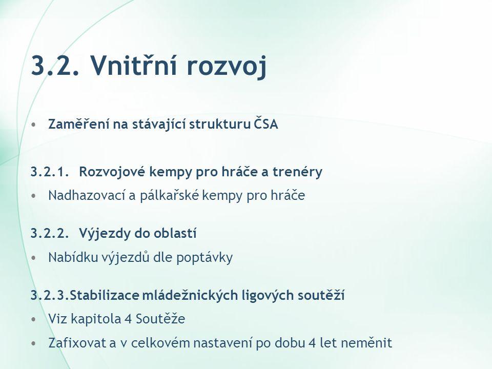 3.2. Vnitřní rozvoj Zaměření na stávající strukturu ČSA