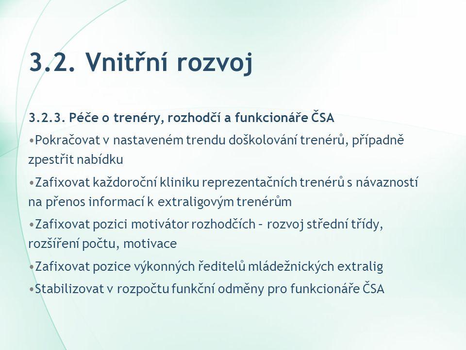 3.2. Vnitřní rozvoj 3.2.3. Péče o trenéry, rozhodčí a funkcionáře ČSA