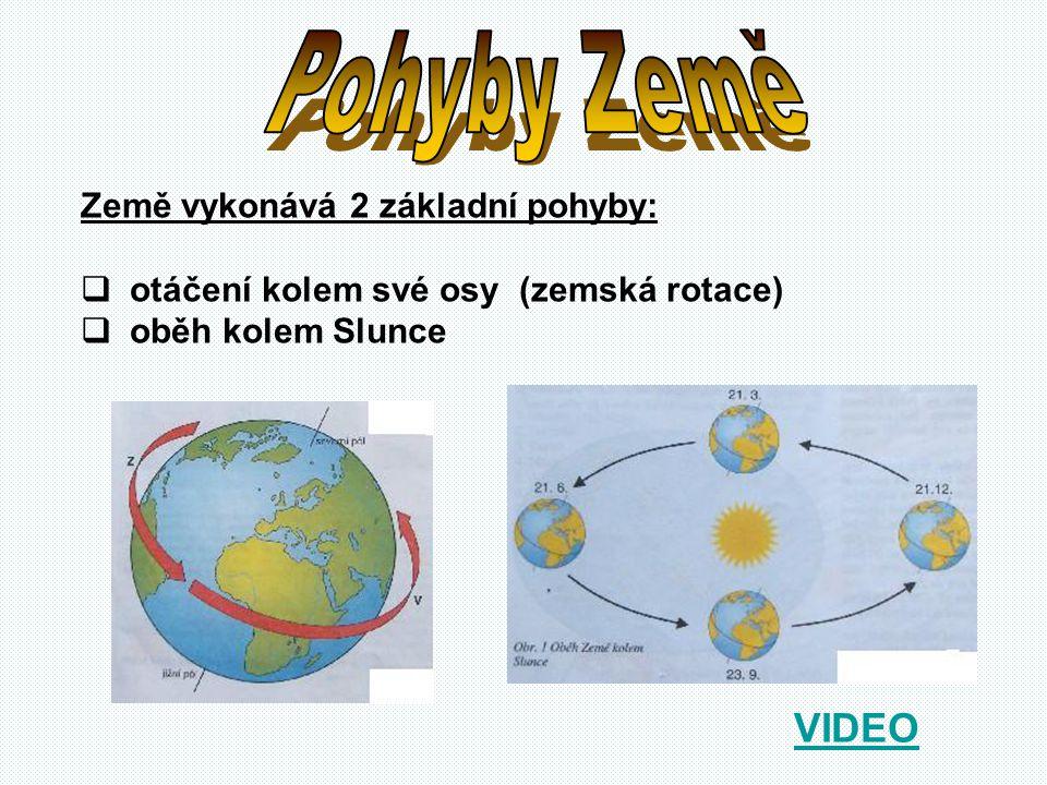 Pohyby Země VIDEO Země vykonává 2 základní pohyby: