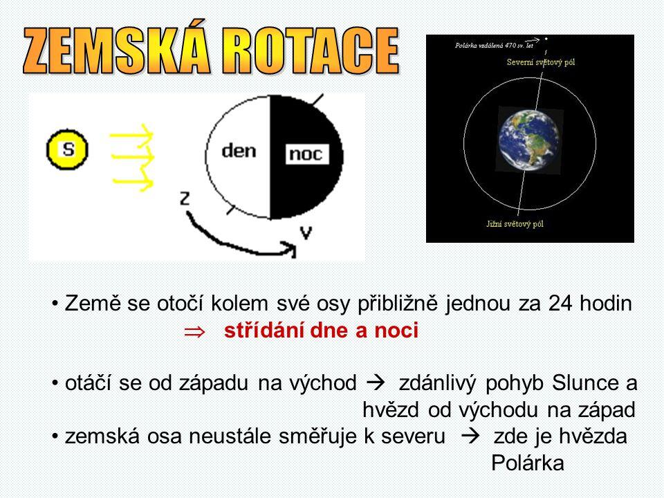 ZEMSKÁ ROTACE Země se otočí kolem své osy přibližně jednou za 24 hodin