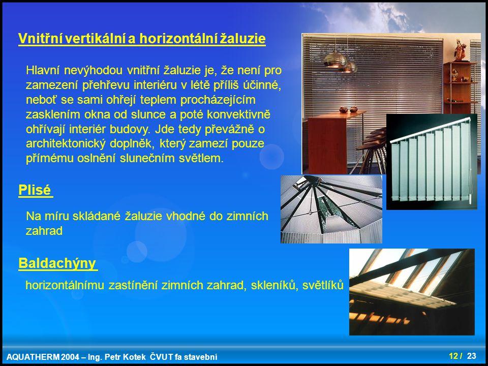 Vnitřní vertikální a horizontální žaluzie
