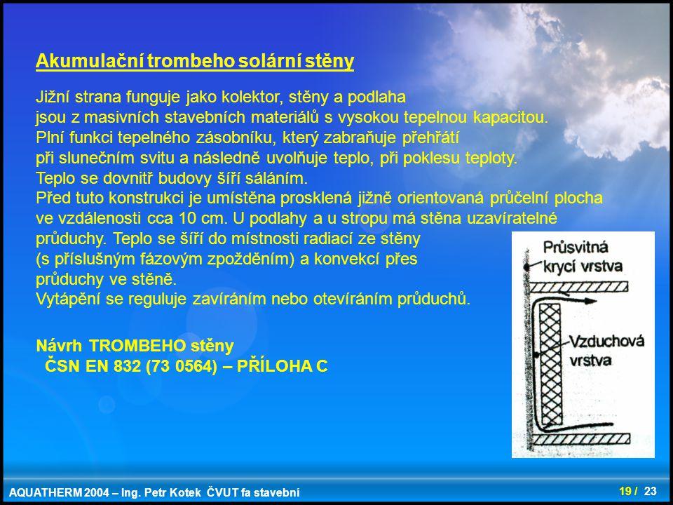 Akumulační trombeho solární stěny