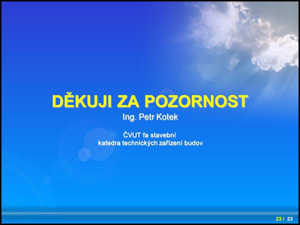 Ing. Petr Kotek ČVUT fa stavební katedra technických zařízení budov