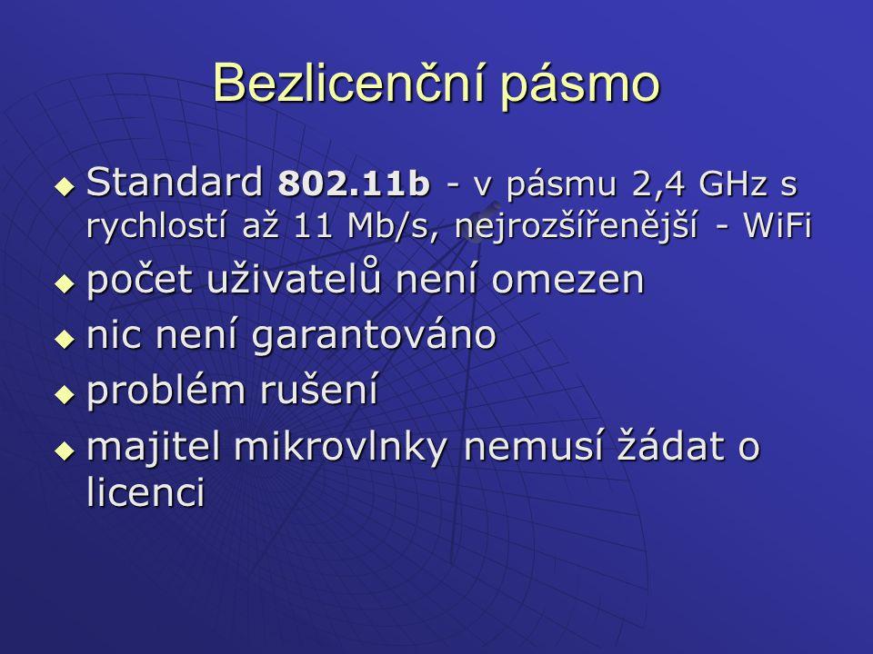 Bezlicenční pásmo Standard 802.11b - v pásmu 2,4 GHz s rychlostí až 11 Mb/s, nejrozšířenější - WiFi.