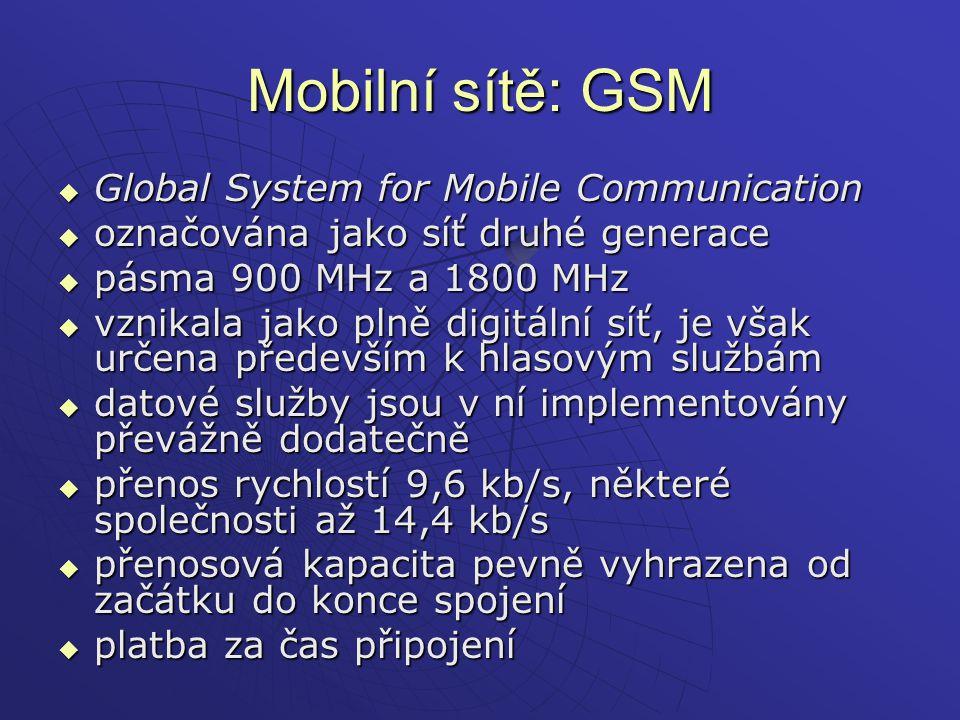 Mobilní sítě: GSM Global System for Mobile Communication