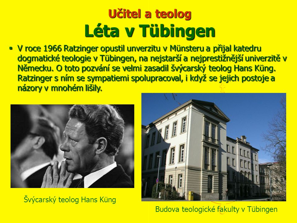 Učitel a teolog Léta v Tübingen