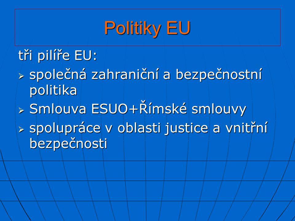 Politiky EU tři pilíře EU: společná zahraniční a bezpečnostní politika